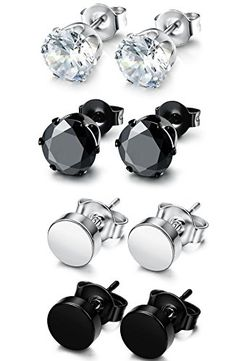 http://picxania.com/wp-content/uploads/2017/08/funrun-4-pairs-stainless-steel-stud-earrings-for-men-women-cz-round-earrings-black-7mm.jpg - http://picxania.com/funrun-jewelry-4-pairs-stainless-steel-stud-earrings-for-men-women-cz-round-earrings-black-5mm/ - FUNRUN JEWELRY 4 Pairs Stainless Steel Stud Earrings for Men Women CZ Round Earrings Black 5mm - Price: FUNRUN JEWELRY: Your Only Best Jewelry FUNRUN JEWELRY are mainly engaged in all kinds of stainless steel, titani