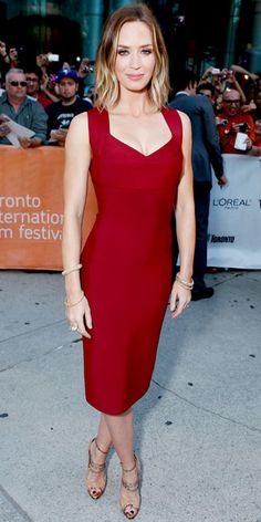 Emily Blunt looks fabulous in a Roland Mouret red dress! #RolandMouret #THEOUTNET #DesignerSpotlight