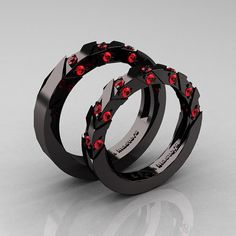 Like Us www.Facebook.com/ClassicEngagementRing    Luxurious and rich, this Modern Italian 14K Black Gold Rubies Wedding Band Set R310BS-14KBGR