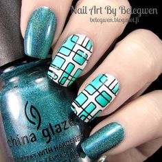 Nail Art By Belegwen: China Glaze Techno Teal, Gina Tricot White and Dance Legend Sisley