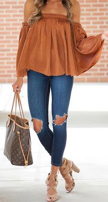 Offshoulder Brown Top Ripped Jeans