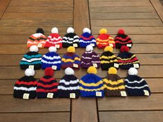 AFL Football Beanies. Available in sizes from premmie to adult. Made with 100% pure Aussie Wool