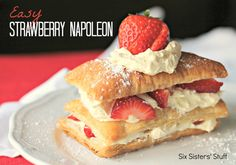 Easy Strawberry Napoleon from sixsistersstuff.com.  A delicious dessert that only takes minutes to put together but tastes like you were in the kitchen all day! #desserts #napoleon #strawberry