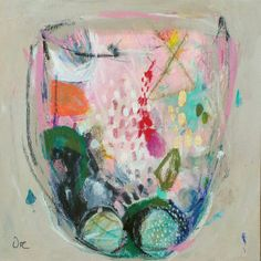 """Abstract painting, Original mixed media painting on gallery canvas, terrarium, Ready to hang. 11"""" x 11"""".  VictoriAtelier on Etsy."""