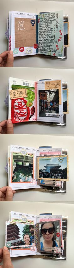 MINI NOTEBOOK ~ Love this Mini Notebook she used to document your trip to Japan. I love that she added in little bits and pieces from her trip like the Kit Kat wrapper.