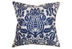 Dolbeau 18x18 Cotton Pillow, Blue