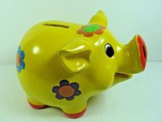 """Collectible Colorful Ceramic Piggy Bank - 5"""" Tall x 7"""" Long"""