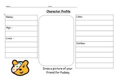 Help pupils imagine what Pudsey is really like with this character profile worksheet.