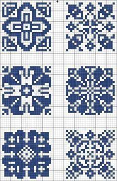 Cross-stitch Blue tiles, part 5 Biscornu Cross Stitch, Cross Stitch Charts, Cross Stitch Designs, Cross Stitch Embroidery, Cross Stitch Patterns, Filet Crochet, Crochet Chart, Crochet Cross, Knitting Charts
