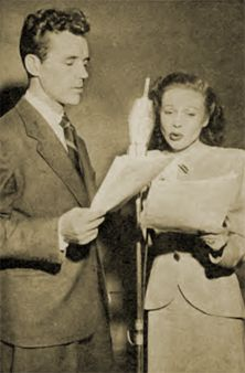 Howard Duff & Lurene Tuttle as Sam Spade and his assistant Effie in rehearsal for the radio show 'The Adventures of Sam Spade, Detective', originally based on the writings of former Pinkerton's detective Dashiell Hammett