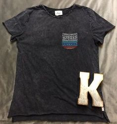 Koto Anthropologie Boho Distressed Short Sleeve Shirt Women's Sz S*