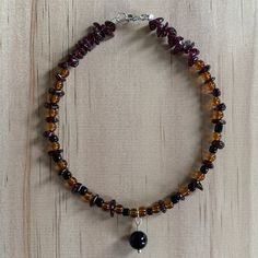 Recycled Bead, Red Garnet & Onyx Anklet