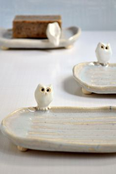 Ceramic Owl Soap Dish from Lee Wolfe Pottery