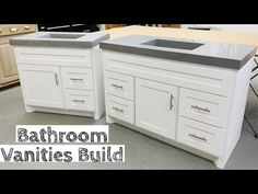 Building TWO Vanities for half the price of buying JUST ONE - YouTube Reupholster Furniture, Diy Furniture, Basement Bathroom, Master Bathroom, Kitchen Cabinet Crown Molding, Concealed Hinges, Concrete Countertops, Shaker Style, Bathroom Styling