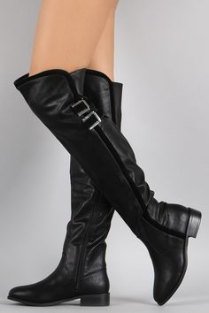 Bamboo Contrast Suede Trim Buckled Riding Over-The-Knee Boots