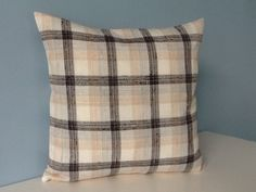 Plaid pillow. Neutral Plaid throw pillow by sterlingstitchery