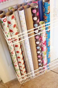 Christmas wrapping paper storage to get 40 Ideas Gift Wrap Storage, Wrapping Paper Storage, Gift Wrapping Supplies, Gift Wrap Organizer, Wrapping Paper Holder, Storage Ideas, Craft Room Storage, Craft Organization, Organizing Life