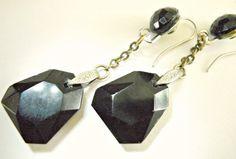 Jet Black Glass Earrings Sterling Silver by RenaissanceFair