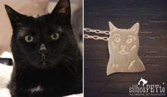 Cat jewelry by silhouPETte. Great gift for mother's day, birthdays, and memorial keepsakes for the cat-loving-lady in your life! www.silhouPETte.com