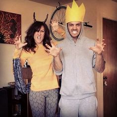 Your favorite childhood story come to life.  What you need to do: Put together gray sweatpants, hoodie, tail, and a huge paper crown for Max's costume. You need a striped orange shirt, scale-patterned tights (you can draw them on regular gray tights), a tail, and horns for Carol's costume.  Source: Instagram user theninelivesofalex
