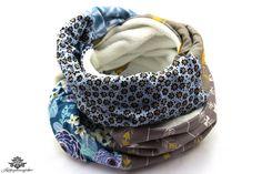 Winter Loop Schal blau grau weiß