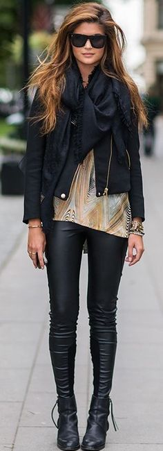 Casual outfit.. love the boots, hair, jacket, everything