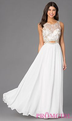 Sleeveless Floor Length Dress with Lace Bodice at PromGirl.com