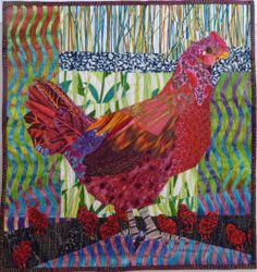 Red Hen and Chicks quilt by Ruth B. McDowell    Machine pieced, hand appliquéd, machine quilted, cottons, cotton batting