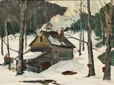 """""""Maple Sugaring, A.T. Hibbard, oil on canvasboard, 18 x 23 3/4"""", private collection."""