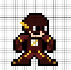 The Flash Barry Allen (Season Perler Bead Pattern Easy Perler Bead Patterns, Perler Bead Art, Dc Comics, Cool Pixel Art, Pixel Art Templates, Hama Beads Design, Peler Beads, Beading Patterns, Pokemon
