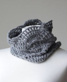Dream Away Cowl - Gray feminine lace infinity neck warmer for spring