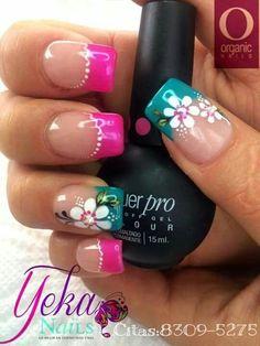 Pin de yamary en uñas nails, nail designs y pink nails. Fancy Nails, Pretty Nails, Spring Nail Art, Flower Nail Art, French Tip Nails, Fabulous Nails, Cool Nail Designs, Blue Nails, Beauty Nails