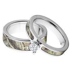 Realtree Camo Ring Sets AP Green - USA Crafted #Valentines #CamoRing #Engaged #CountryWedding #ILoveYou #CamoWedding #MatchingRings #Camouflage #WeddingRings #WeddingBands