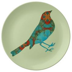 Rustic Bird Porcelain Plate