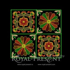 Free Machine Embroidery Designs - Beautiful square ornaments - Royal Present Embroidery