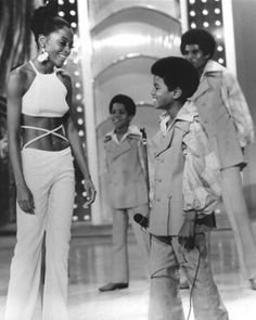 Diana Ross and Michael Jackson, Marlon Jackson, and Jackie Jackson.