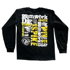 Volleyball Teamwork Long Sleeve T-shirt - Black - Lucky Dog Volleyball from luckydog volleyball. Saved to Epic Wishlist. Volleyball Team Shirts, Volleyball Outfits, Volleyball Quotes, Beach Volleyball, Sports Shirts, Softball, Volleyball Shirt Designs, Volleyball Ideas, Soccer