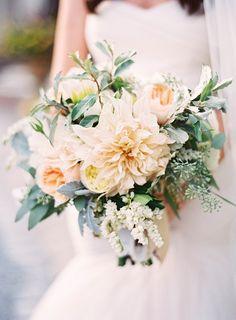 Summer bridal bouquet. Cafe au lait dahlias, Juliette garden roses. Jen Huang Photography