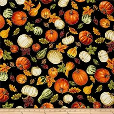 Timeless Treasures Autumn Bounty Metallic Tossed Gourds And Leaves Black from @fabricdotcom  From Timeless Treasures, this cotton print fabric features falling pumpkins, gourds and autumn leaves for a truly fall feel. Perfect for quilting, apparel and home decor accents. Colors include black, white, cream, taupe, brown, shades of green and orange, red, burgundy and metallic gold.
