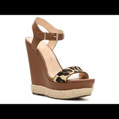 Jessica Simpson wedges Brand new in box - tops are died calf fur Jessica Simpson Shoes Wedges