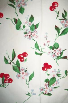 Vintage Tablecloth Linens Cotton Red Cherries White Blue Flowers Wilendur | eBay