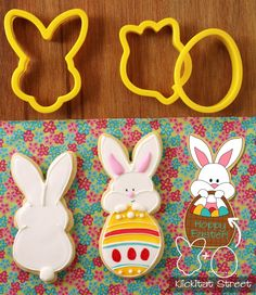 Bunny face cutter + tulip cutter = full bunny.  Bunny face cutter + egg cutter = bunny peeking over egg or bunny with basket. | Klickitat Street