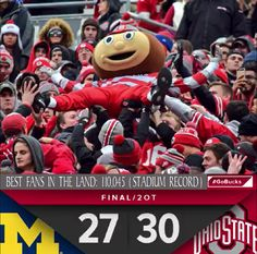 11-26-2016 Final score and attendance! The record attendance will no doubt stand for a while since they are going to remodel the Horseshoe once again. This time to take out seats for the public and put in more high priced luxury boxes...not cool Ohio State!!