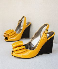 Take a look at this Mustard Yellow Lou Open-Toe Wedge - Women on zulily today!