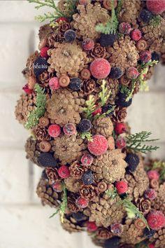 Natural wreath Wreath cones Rustic wreath Christmas wreath