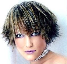 pics of highlights for short hair | Very Short layered & spiky hair style with long bangs, highlight