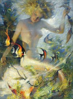 Underwater Fantasies (Mermaid), 1946, by Andrew Loomis (1892–1959). Oil on canvas. Collection of Jennifer Loomis. Image and details originally found at the Norman Rockwell Museum site