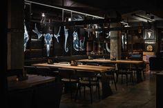 "Meat Restaurant ""Sazha"" by YOD design lab, Sums'ka oblast – Ukraine Meat Restaurant, Luxury Restaurant, Restaurant Interior Design, Bar Design Awards, Ukraine, Discount Furniture Stores, Furniture Sale, Luxury Furniture, Contemporary Interior Design"