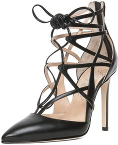 fd46fc653ca4 Boomerang Suede Lace Up Pump in Black - Lyst Lace Up Heels