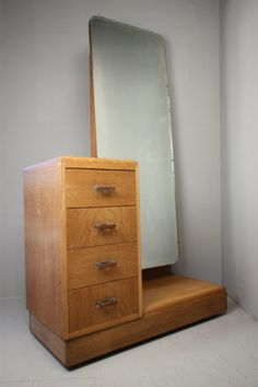Oak Dressing Table by Bowman Brothers Full Length Mirror With Drawer, Full Length Mirror Dressing Table, Spas, Mirror Unit, Dressing Table Storage, Vintage Dressing Tables, Wardrobe Design, Art Deco Furniture, Storage Drawers